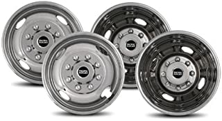 Pacific Dualies 431608 Polished 17 Inch 8 Lug Stainless Steel Wheel Simulator Kit for 2005-2019 Ford F350 Truck