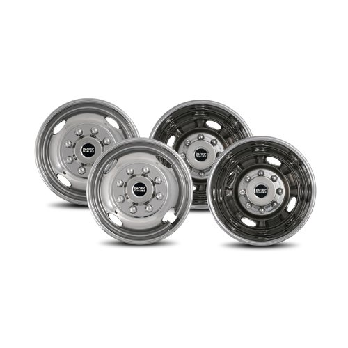 Pacific Dualies 43-1608 Polished 17 Inch 8 Lug Stainless Steel Wheel Simulator Kit for 2005-2021 Ford F350 Truck