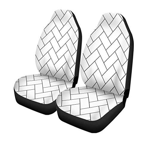 XZfly Autositzbezüge Muster Fischgrätenmuster Parkett Diagonale Weiß Holz Abstrakt Pfeil Schwarz 2er-Set 2 Protektoren Auto Fit für Auto