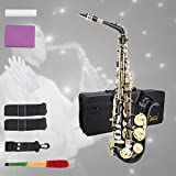 Glarry Student Alto Eb E-flat SAX Saxophone Gold Lacquer SAX Beginners Kit with Case, Reeds,Mouth Piece, Soft Cleaning Cloth and Rod,Gloves (Black)