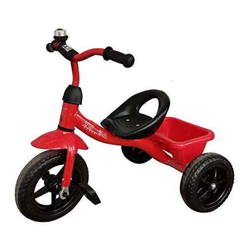 WENJIE Niño Triciclo 1-3 2-6 Años Niños del Montar A Caballo del Juguete del Asiento Portátil Salidas Triciclo 57X68X49CM (Color : Red)