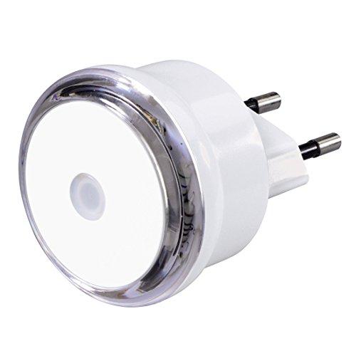 Hama Luz nocturna LED con sensor crepuscular, luz de orientación de bajo consumo para enchufe, solo 0,8 W, color blanco