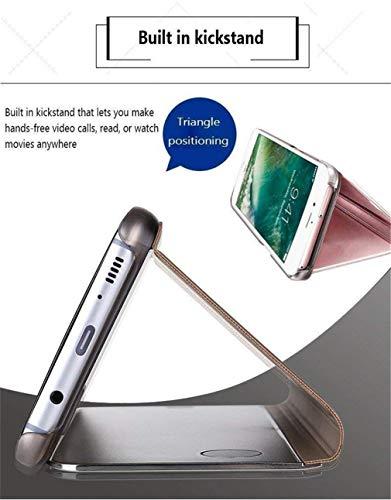 COTDINFOR Huawei Y6 2019 Hülle Spiegel Ledertasche Handyhülle Clear Cool Männer Mädchen Flip Ständer Etui Case Slim Schutzhüllen für Huawei Y6 2019 Mirror PU Purple MX.