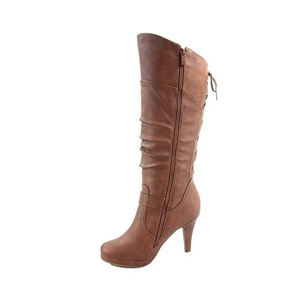 TOP Moda Womens Page-65 Knee High Round Toe Lace-Up Slouched High Heel Boots 4