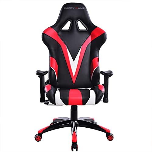 HXJU Silla de juegos, silla de ordenador de juegos de poliuretano, silla ergonómica de competición con reposacabezas y soporte lumbar rojo