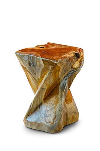 Kinaree Massivholz Beistelltisch BAN PHAI - 43cm Wurzelholz Baumstamm Hocker aus Teakholz, Blumenständer, Nachttisch, Blumenhocker