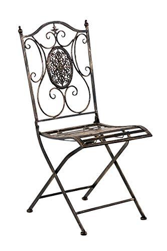 CLP Eisen-Gartenstuhl SIBELL I Klappbarer Gartenstuhl mit edlen Verzierungen I erhältlich, Farbe:Bronze