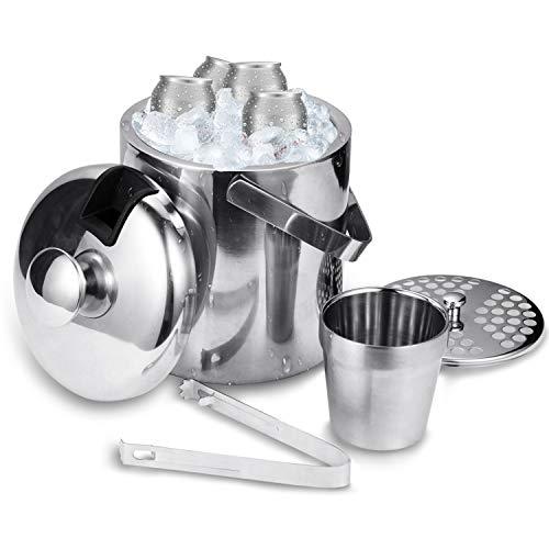 Hengda Eiseimer, Edelstahl Eisbehälter, Eiswürfelbehälter mit Deckel Doppelwand-Isolierung Eiskübel für besonders Lange Kühlung, 1.3L Eiskühler
