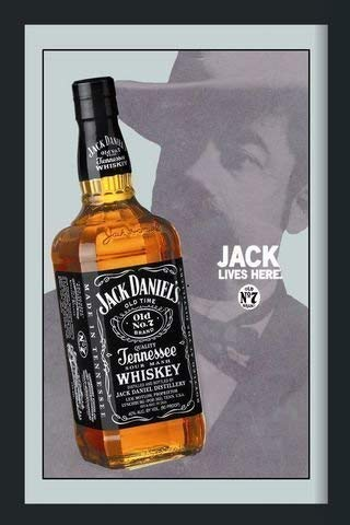 Jack Daniels Distiller Bottle Nostalgie Barspiegel Spiegel Bar Mirror 22 x 32 cm