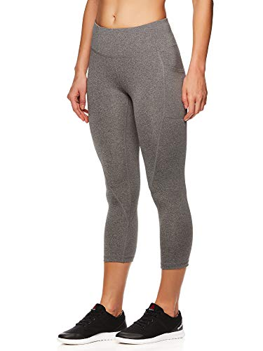Reebok Women's Printed Capri Leggings with Mid-Rise Waist Cropped Performance Compression Tights - Flint Grey Heather, Medium