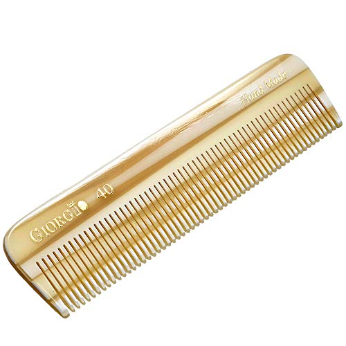 Giorgio G40 4 1/2quot / 113mm All Fine Tooth Pocket Comb  For Styling Medium or Fine Men Women amp Kids Hair HandMade SawCut and Hand Polished 1 Pack Ivory