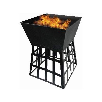 garden mile Black Outdoor Fire Pit with Galvanised Cooking Grill BBQ Firepit Brazier Garden Square Patio Heater Camping Lightweight Portable Barbeque Heat Resistant Barbecue Wood Charcoal Burning Pit