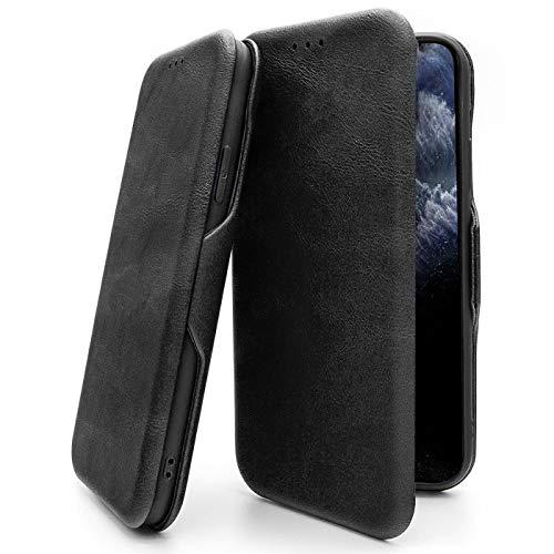 Verco Handyhülle für Huawei Mate 20 Pro, Bookstyle Premium Handy Flip Cover für Mate 20 Pro Hülle [integr. Magnet] Book Case PU Leder Tasche, Schwarz