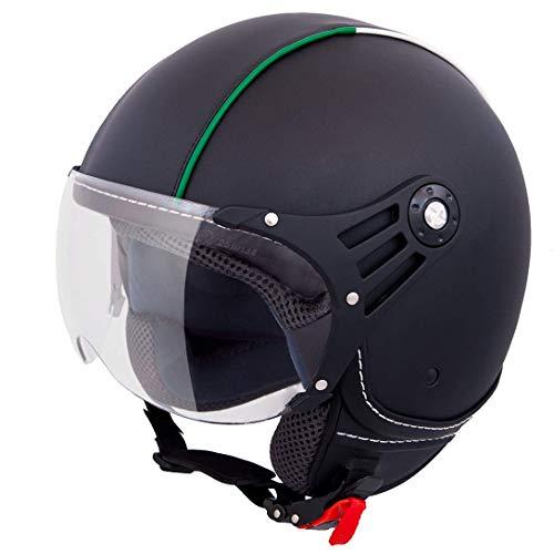 Vinz Casco Fiori Scooter Jet | en tallas XS-XL | Casco Jet con rayas | Certificado ECE | Casco de moto con visera (Cuerto Negro Italia, Small)