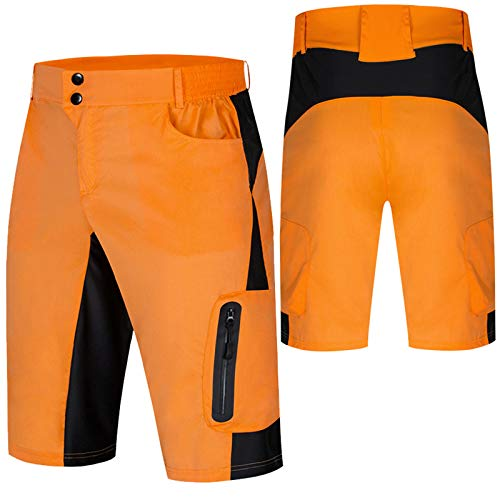 Culotte Ciclismo Hombre,Transpirable Cómodo Pantalones Cortos de Ciclismo,Impermeable Verano Culotes Ciclismo Hombre, para Correr Deportes al Aire Libre Culotte MTB Hombre(Size:S,Color:Naranja)