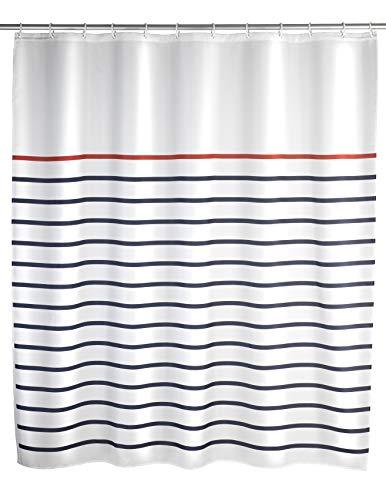 WENKO Duschvorhang Marine White, Textil-Vorhang fürs Badezimmer, mit Ringen zur Befestigung an der Duschstange, waschbar, wasserabweisend, 180 x 200 cm