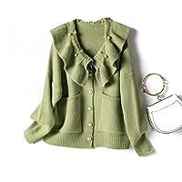 MQJ カラーセーター秋の新しいシングルブレスト長袖カーディガンフェムムズルー韓国のニットコート,オレンジ