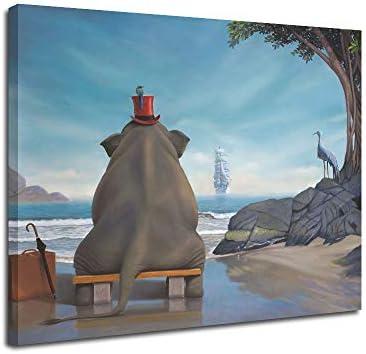 Elephant cartoon Canvas Wall Art Inner Framed Oil Paintings Printed on Canvas Modern Artwork product image