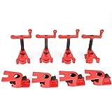 "Cocoarm 3/4"" Serre-joint en Tube 4 Sets Wood Gluing Pipe Clamp Serre-joint à vis Professionnel Carpenter Tool Rouge"