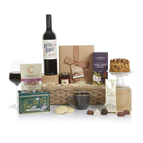 Food & Wine Hamper - Food Hampers & Gift Baskets - The Perfect Gourmet Selection With Red Wine - For Him or For Her - Birthday and Thank You Hampers