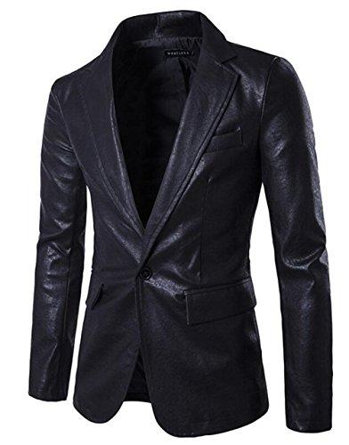 XIUWU Men's One Button PU Pleather Jackets Slim Fit Blazer Coats Black L