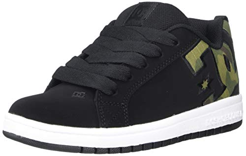 DC Boys' Court Graffik SE Skate Shoe, camo, 4 M M US Big Kid