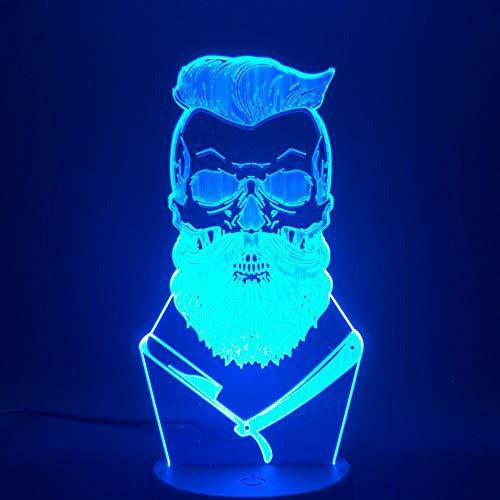 Cool barber shop mesa luz de noche interruptor táctil lámpara de escritorio de barbero 3D LED lámpara de escritorio pequeña interfaz USB luz de control remoto táctil luz de noche colorida