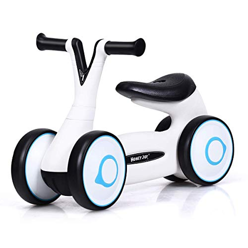 XLAHD Toy car Baby Balance Bike, Walker Push Bicycle without Pedal, First Training Tricycle for 1-3 Years Old Kids Toddlers (White)