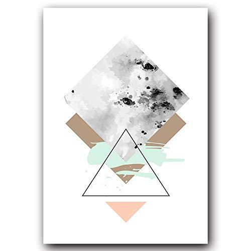 DLFALG eenvoudige en frisse abstracte geometrische Engels canvas schilderij kunstdruk poster afbeelding muur woonkamer decoratie op canvas 50x75cm Kein Rahmen C