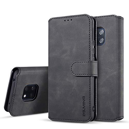xinyunew Hülle Kompatibel mit Huawei Mate 20 Pro Hülle,360 Grad Handyhülle + Panzerglas Premium Handy Schutzhülle Leder Wallet Tasche Flip Brieftasche Etui Schale (Schwarz)
