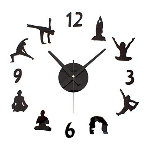 VORCOOL Mute DIY 3D Reloj de Pared Yoga Pegatinas de Pared Numerals Reloj Decoraciones para el Hogar (Negro)