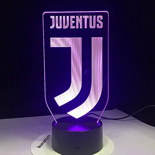 SSYYJJ 3D LED Illusion Light luci notturne ottici lampada da tavolo Atmosfera Decorazione regali di compleanno per bambini Calcio Juventus Club Nuovo logo Animali per bambini Papà Amici Dropship