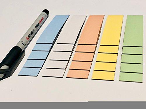 25 bunte beschreibbare Magnetstreifen 80 x 20mm inkl. Stabilo Stift/beschreibbar/abwaschbar/wiederverwendbar