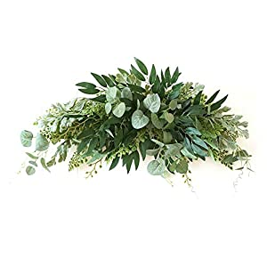 Silk Flower Arrangements VKTY 27.6 Inch Wedding Flowers Swag Large Artificial Mixed Eucalyptus Leaves Swag Decorative Swag with Green Leaves for Wedding Arch Front Door Wall Decor