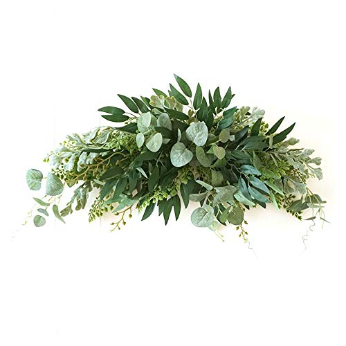 WDDH 27.5'' Floral Swag, Large Artificial Mixed Eucalyptus Leaves Swag, Front Door Decorative Swags with Green Leaves for Wedding Arch Home Garden Decor