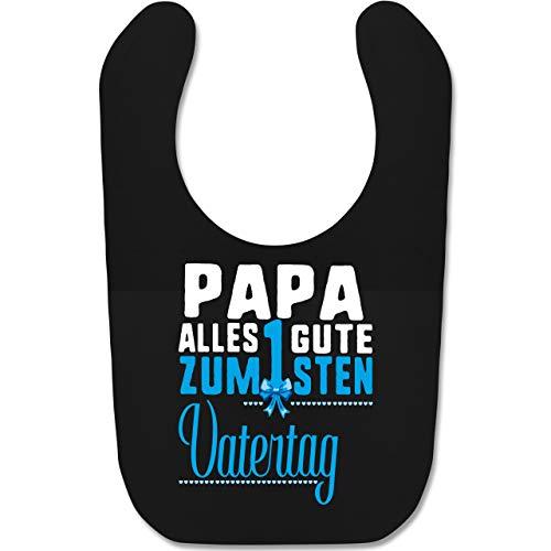 Shirtracer Vatertagsgeschenk Tochter & Sohn Baby - Papa alles Guten zum 1sten Vatertag blau - Unisize - Schwarz - Papa - BZ12 - Baby Lätzchen Baumwolle