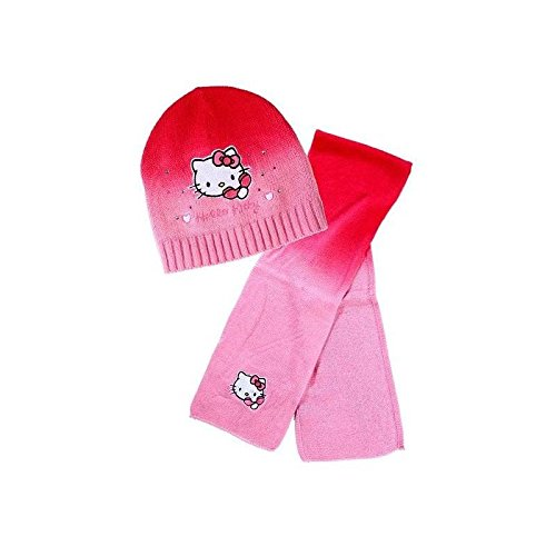 Hello Kitty - Ensemble Bonnet et Echarpe - Taille 54 (4-5 ans) ou Taille 52 (2-3 ans)
