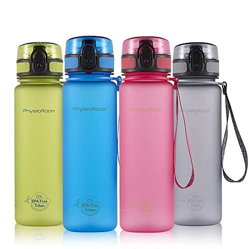 Botella de Agua de 500 ml Sin BPA - Tapa a Prueba de Fugas de 17 oz Se Abre con 1 Clic - Plástico Tritan No Tóxico Apto para Lavavajillas - Deportes, Running, Gimnasio, Oficina, Escuela y Camping
