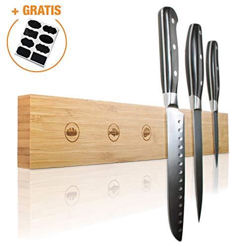 Amazy - Listón magnético para cuchillos + 15 etiquetas de