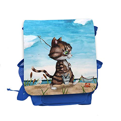 ilka parey wandtattoo-welt Kinderrucksack Kater Katze Kätzchen Angelkatze Angel Angeln Fische rot blau hellblau Wunschname Kindergarten Rucksack kgn051 - ausgewählte Farbe: *blau*