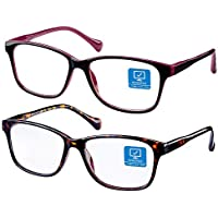 2-Pack K KENZHOU Blue Light Blocking Anti-Eyestrain Unisex Computer Glasses with Spring Hinges (Twilight and Red)