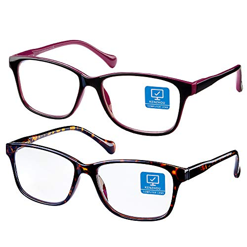 Blue Light Blocking Computer Glasses 2 Pack Anti Eye Eyestrain Unisex(Men/Women) Glasses with Spring Hinges UV Protection(Twilight and Red)