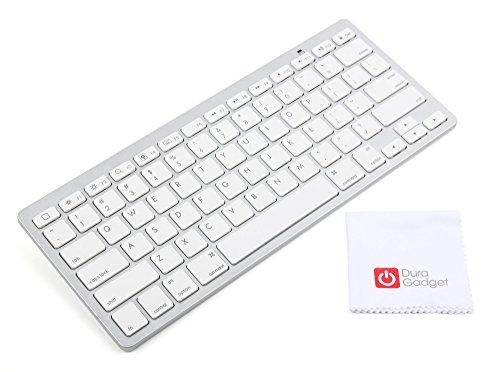 DURAGADGET Clavier sans Fil sans Fil Blanc QWERTY pour iPad, tablettes et Ordinateurs Portables Mac, Windows et Android