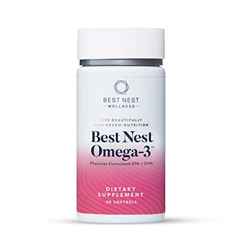 Best Nest Omega-3 Fish Oil, Once Daily DHA + EPA Supplement, Wild Caught Fish, Immune Support, 30 Softgels, Best Nest Wellness