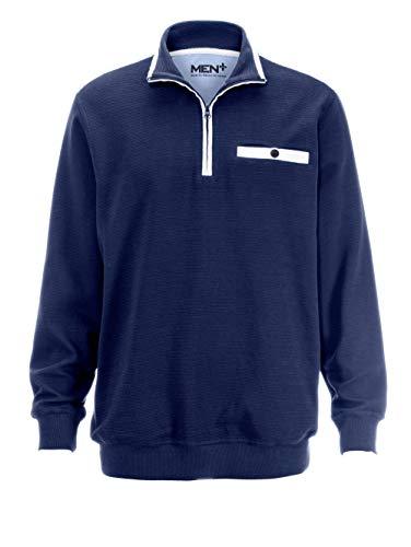 Men Plus by HAPPYsize Herren-Sweatshirt Spezialschnitt – Freizeit-Pullover aus Reiner Baumwolle, Langarm-Pulli in Marineblau, Gr. 64/66