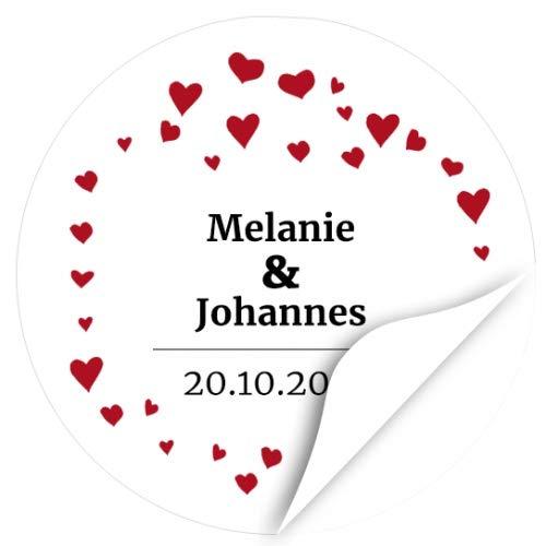 24 runde Design Etiketten zur Hochzeit personalisiert - Namen und Datum individuell Braut und Bräutigam - Save the Date Hochzeits-Aufkleber