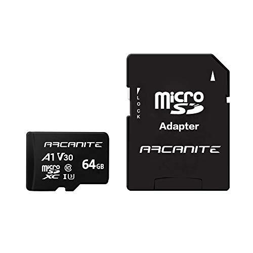 ARCANITE 64 GB microSDXC-Speicherkarte mit Adapter - A1, UHS-I U3, V30, 4K, C10, MicroSD, Lesegeschwindigkeit von bis zu 90 MB/s