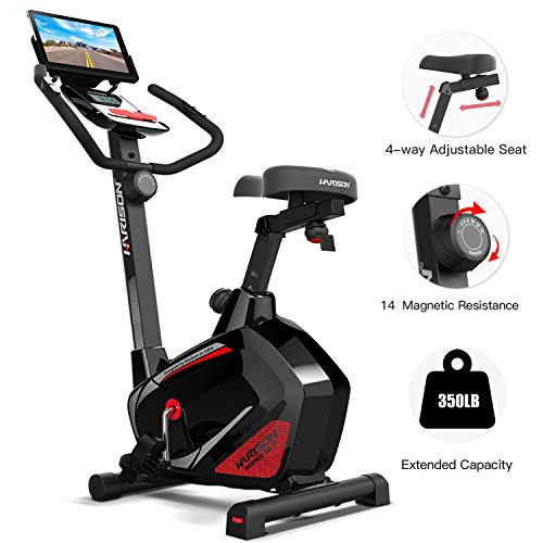 HARISON Stationary Upright Exercise Bike with Magnetic Resistance for Indoor Home Gym Cardio Workout (BLACK)