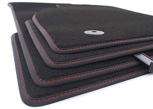 kh Teile Fußmatten passend A4 S4 RS4 (B8 8K) Velours Premium Qualität Matten Innen Anthrazit, 4-teilig, Nubuk mit roter Ziernaht