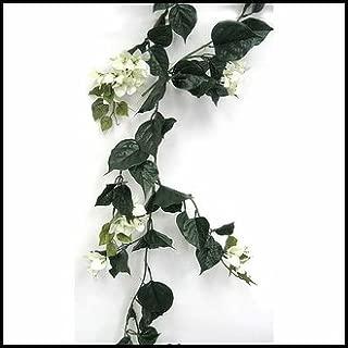 Windowbox Outdoor Artificial Bougainvillea Vines - 9.5' Garland - Cream Flowers